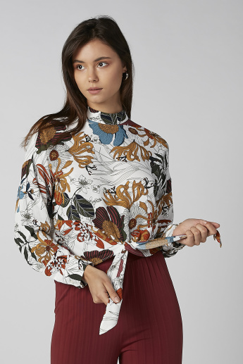 Koton Printed Top with High Neck and Long Sleeves