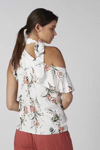 Koton Floral Printed Sleeveless Top with Frill Detail and Tie Ups