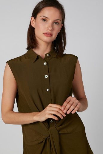 Koton Plain Sleeveless Shirt with Spread Collar and Tie Ups