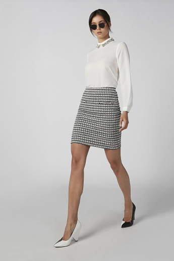 Koton Plain Top with Embellished Collar and Long Sleeves