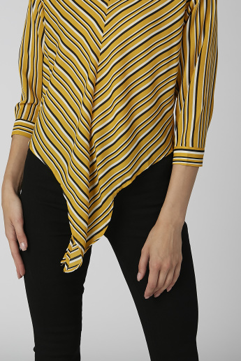 Koton Striped V-neck Top with 3/4 Sleeves and Tie Ups