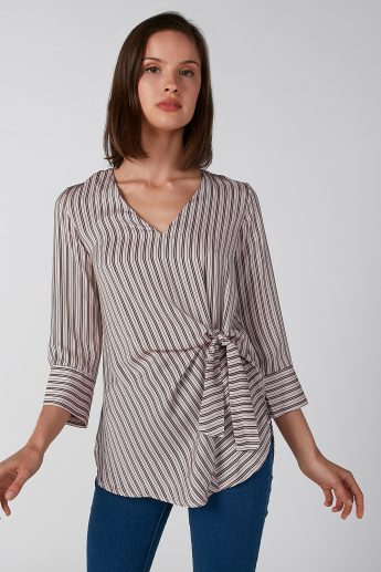 Koton Striped Top with V-neck and 3/4 Sleeves