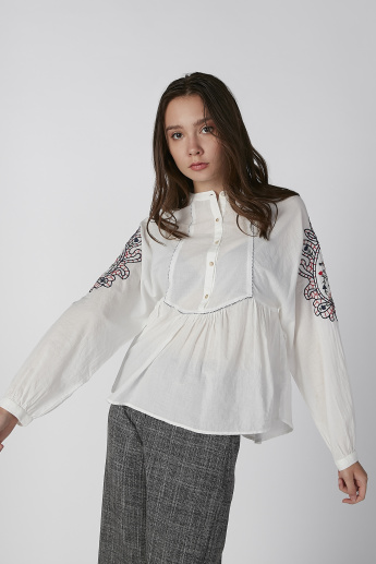 Koton Embroidered Peplum Top with Mandarin Collar and Long Sleeves