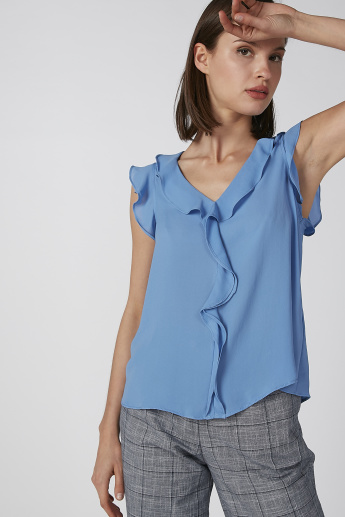 Koton Sleeveless Top with V-neck and Ruffle Detail