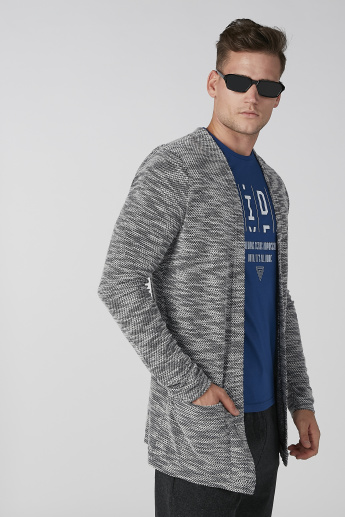 Koton Textured Cardigan with Long Sleeves and Pocket Detail