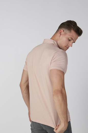 Koton Textured T-shirt with Polo Neck and Short Sleeves