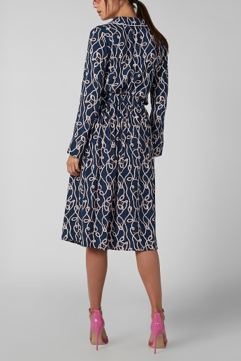 Koton Printed A-line Midi Skirt with Button Detail