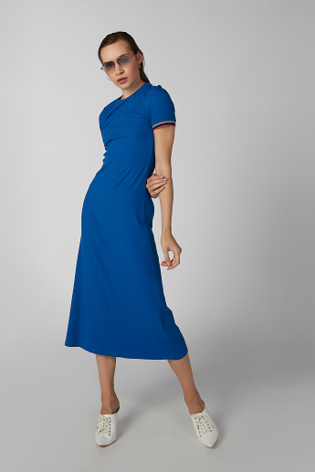 593b8047040b6 Koton A-Line Midi Dress with Round Neck and Short Sleeves | Blue