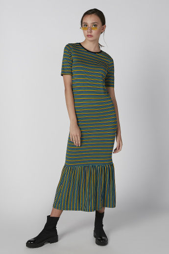 Koton Striped Bodycon Dress with Round Neck and Short Sleeves