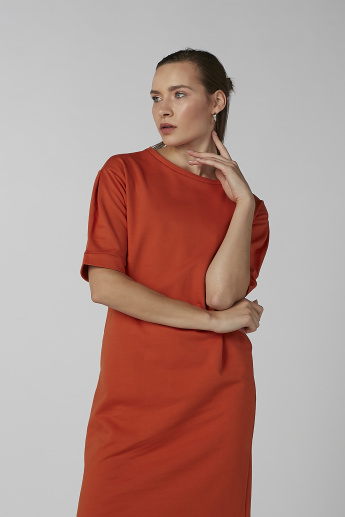 Koton Plain Midi Dress with High Low Hem and Short Sleeves