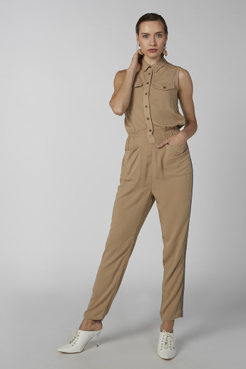 Koton Plain Sleeveless Jumpsuit with Pocket Detail and Spread Collar