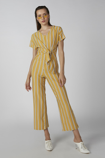Koton Striped Jumpsuit with Short Sleeves and Tie Ups