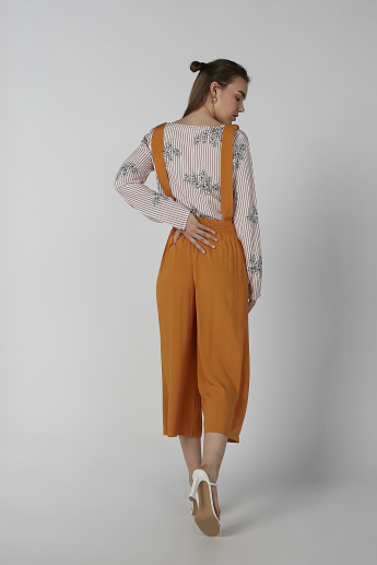 Koton Solid Strappy Jumpsuit with Printed Motifs
