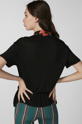 Koton Plain Top with Floral Printed Tie Ups