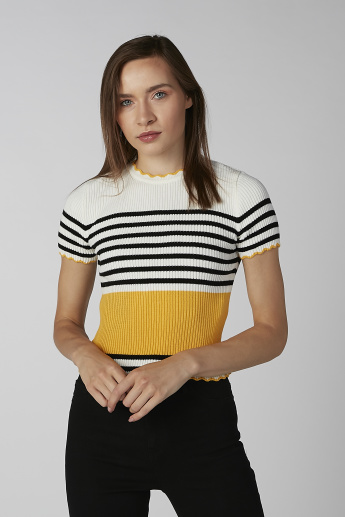 Koton Striped Round Neck T-shirt with Short Sleeves