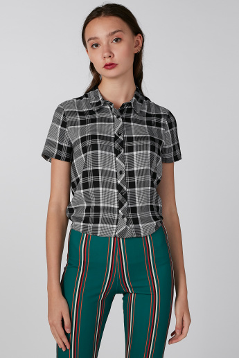 Koton Chequered Shirt with Short Sleeves and Tie Ups