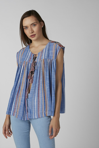 Koton Striped Sleeveless Top with Tie Ups