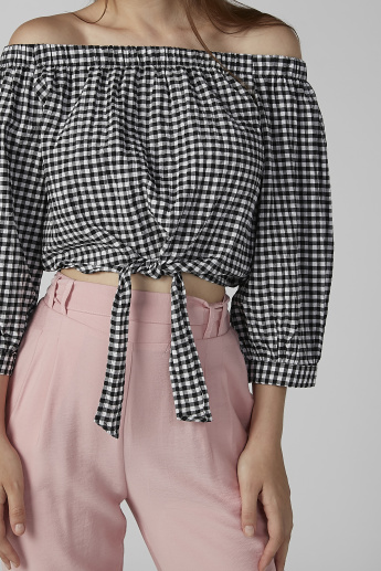Koton Chequered Off Shoulder Top with Tie Ups