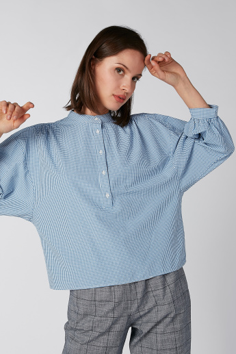 Koton Chequered Top with 3/4 Sleeves and Mandarin Collar