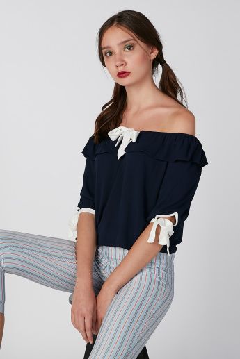 Koton Plain Off Shoulder Top with Tie Ups