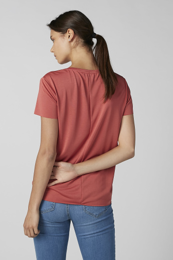 Koton Plain T-shirt with V-neck and Short Sleeves