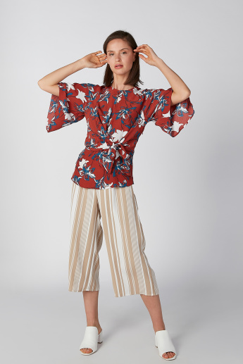 Koton Floral Printed Top with Round Neck and Flared Sleeves