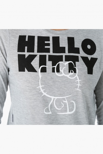 Hello Kitty Printed Crop Top with Crew Neck and Long Sleeves