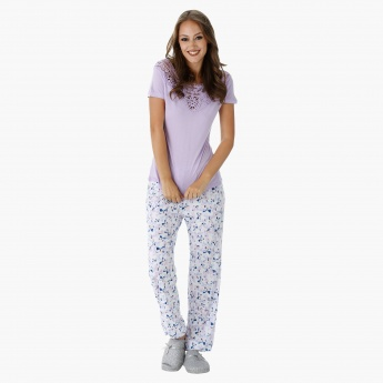 Printed Pajama Set with Lace Embroidered Top