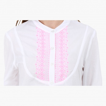 Cotton Night Shirt with Embroidery in Regular Fit