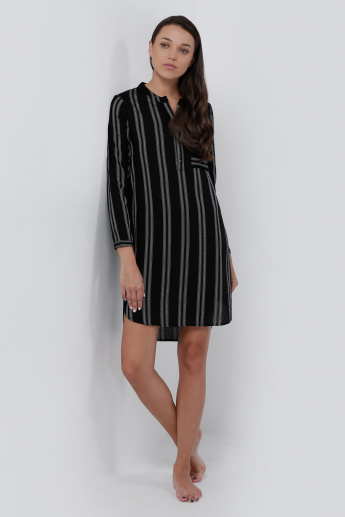 Striped Shirt Dress with Long Sleeves