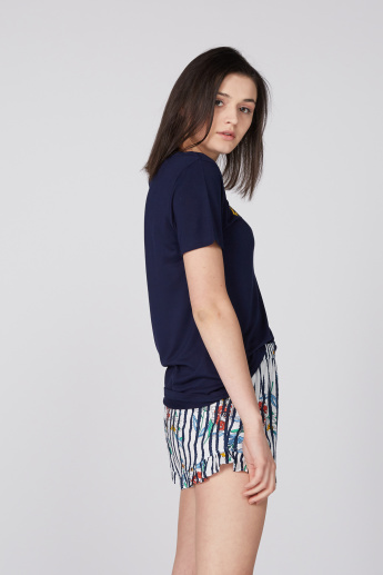 Round Neck T-Shirt with Printed Shorts