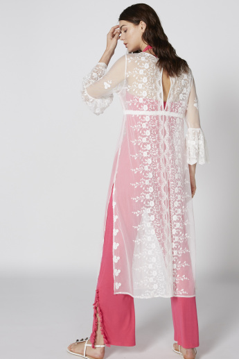 Embroidered Longline Shrug with Long Sleeves and Tie Up Detail