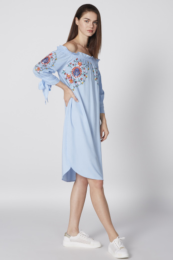 Embroidered Midi Off Shoulder Dress with 3/4 Sleeves