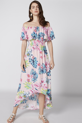 1148f64140a1 Floral Printed Off Shoulder Dress with Asymmetric Detail