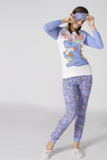 Printed Raglan Sleeves T-Shirt and Pyjama Set with Eyemask