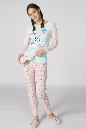 Printed T-Shirt and Pyjama Set with Eyemask
