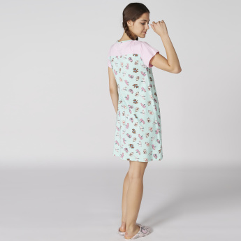 Printed Sleep Dress with Round Neck - Set of 2