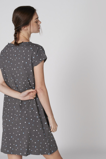 Tom and Jerry Printed Sleep Dress with Round Neck and Extended Sleeves
