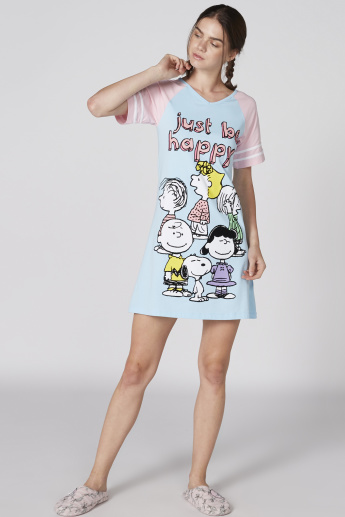 Calvin and Hobbes Printed Sleep Dress with V-Neck and Short Sleeves