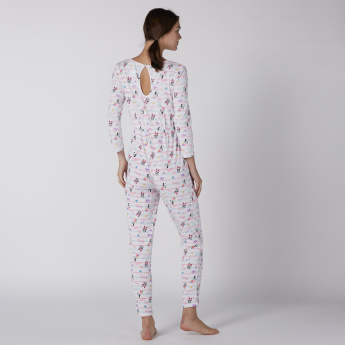 Printed Jumpsuit with Round Neck and Long Sleeves