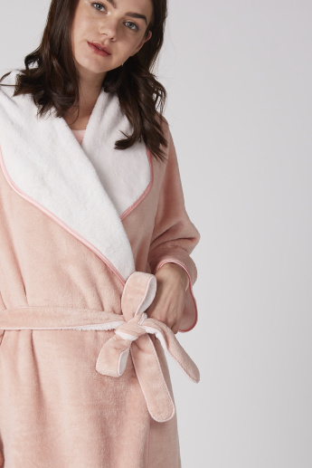 fba0e0be39 Plush Robe with Long Sleeves and Tie Up Belt