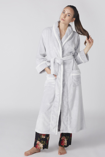 cbc12821f8 Plush Detail Robe with Long Sleeves and Tie Up Belt