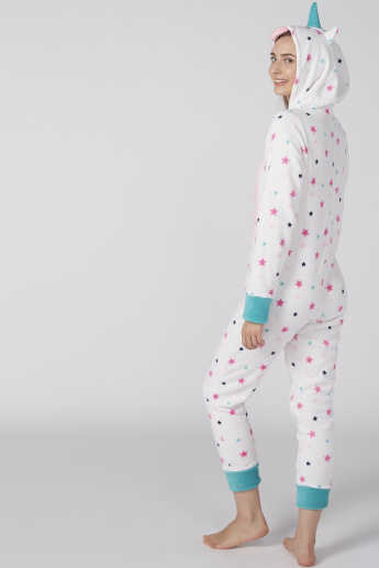 Printed Jumpsuit with Zip Closure and Hood