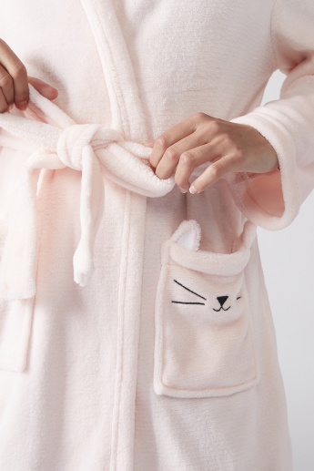 Long Sleeves Bathrobe with Pocket Detail and Tie Ups