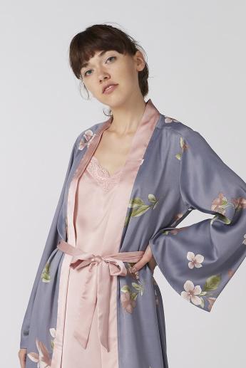 Matte Satin Kimono Robe & Slip Dress - 2 Pieces