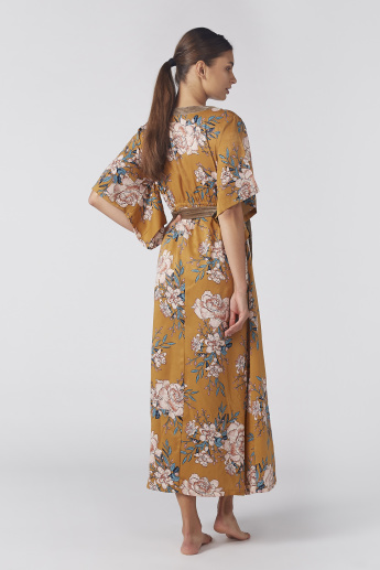 Floral Printed Sleep Dress with V-Neck and Tie Up Belt
