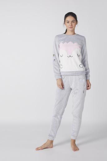 Plush Long Sleeves Sweatshirt with Jog Pants