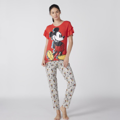 Mickey Mouse Printed Top and Pyjama Set