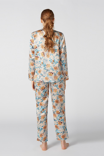 Floral Printed Shawl Neck Shirt with Full Length Pyjama Set