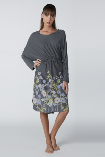 Floral Printed Sleep Dress with V-Neck and Ruching Detail